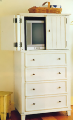Antique White T.V. Cabinet with Drawers